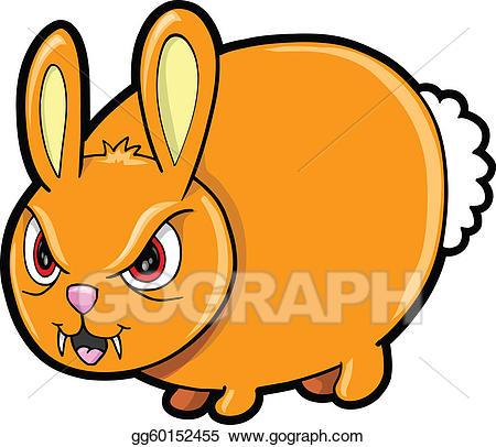 Art nasty mean rabbit. Bunny clipart vector
