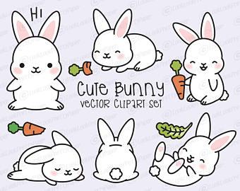 Bunny clipart. Etsy premium vector kawaii