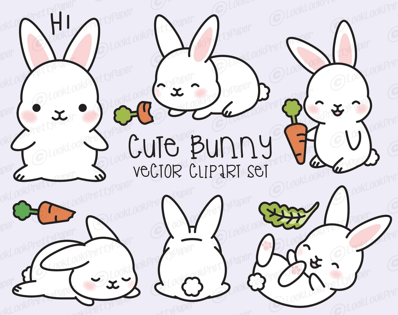 Bunny clipart. Premium vector kawaii cute