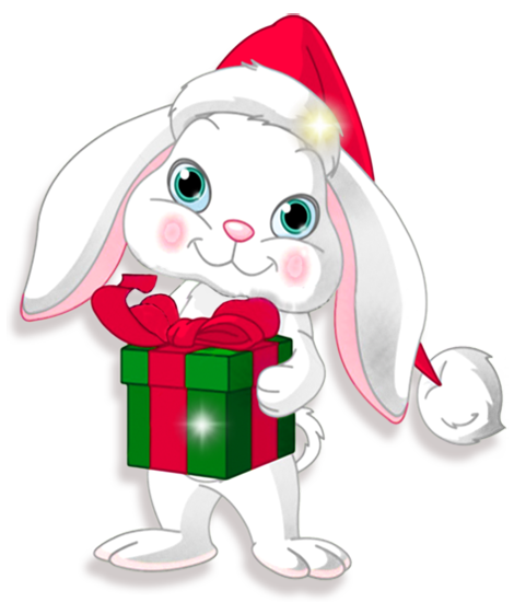 Transparent with gift gallery. Clipart bunny christmas