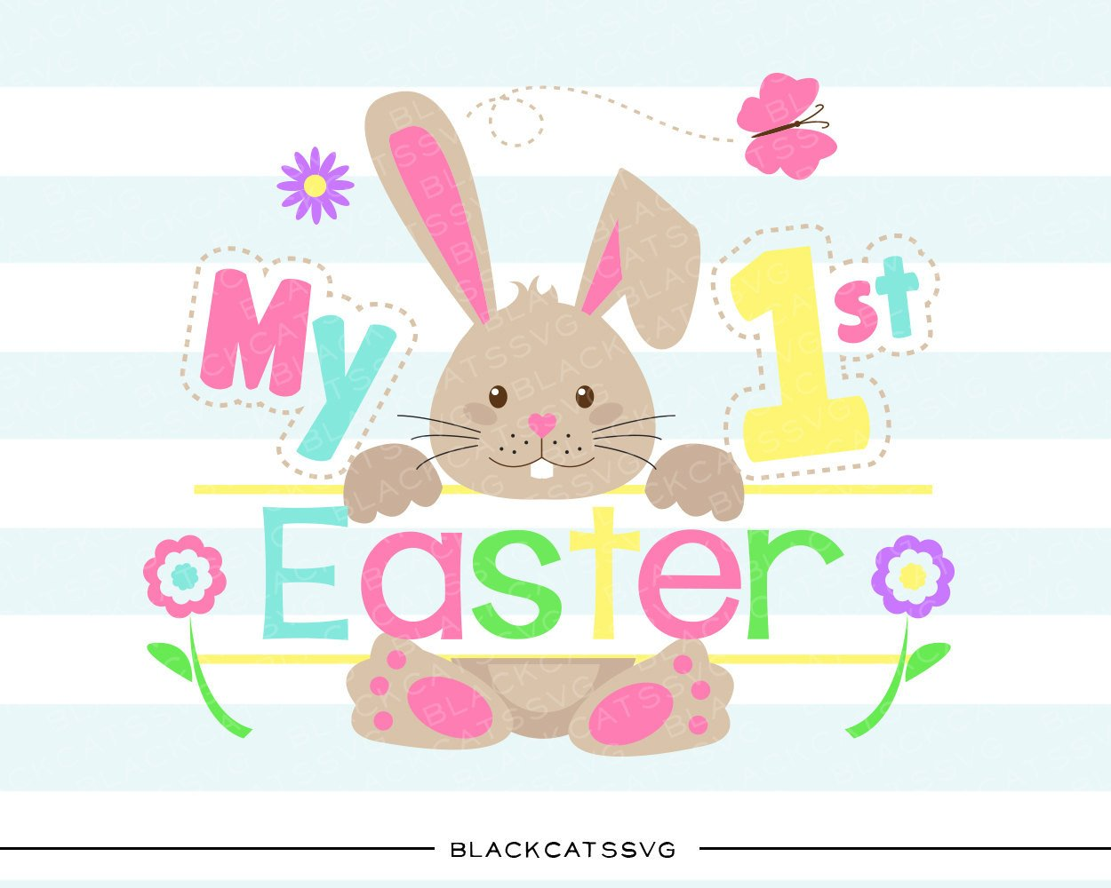 Bunny clipart colored. My first easter svg