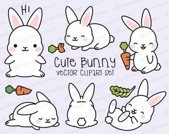 Bunny clipart cute bunny. Premium vector kawaii set