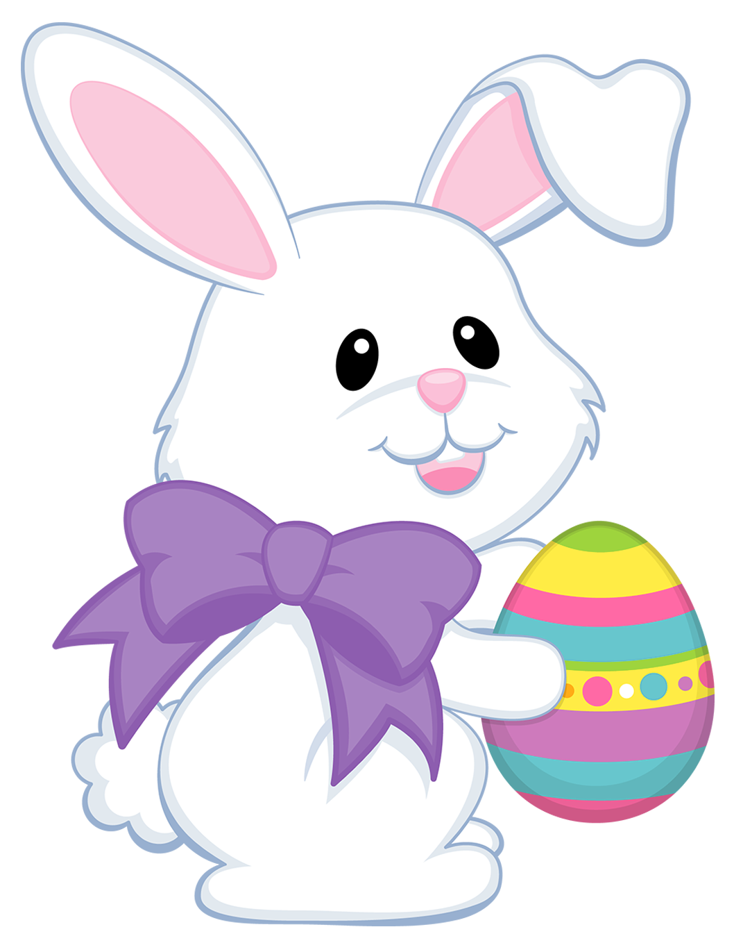 Face clipart easter bunny. Cute with purple bow