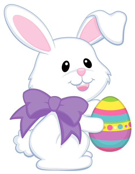 Chick clipart easter bunny. Cute with purple bow