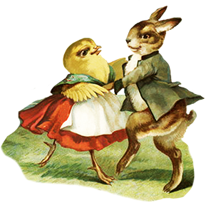 Bunny clipart dancing. Funny and cute easter