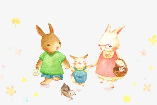 Bunny clipart family. A of three rabbits