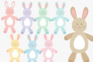 Bunny clipart family. Rabbit illustrations creative market