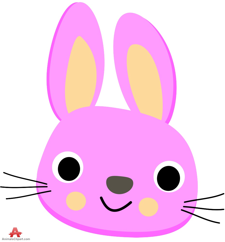 Pencil and in color. Bunny clipart head