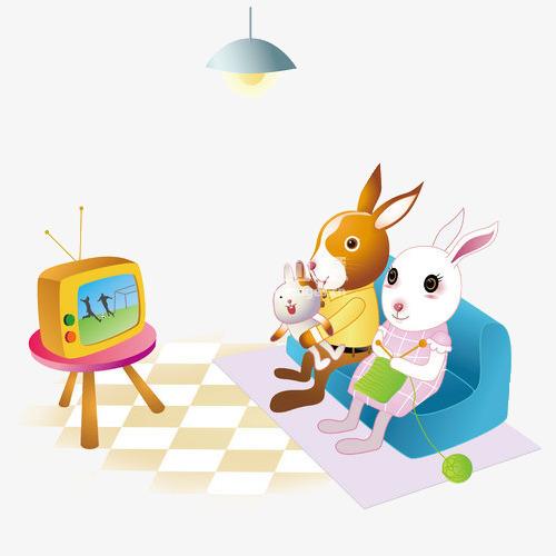 At tv set sofa. Bunny clipart home