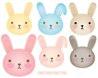 Animal face clip heads. Bunny clipart kawaii
