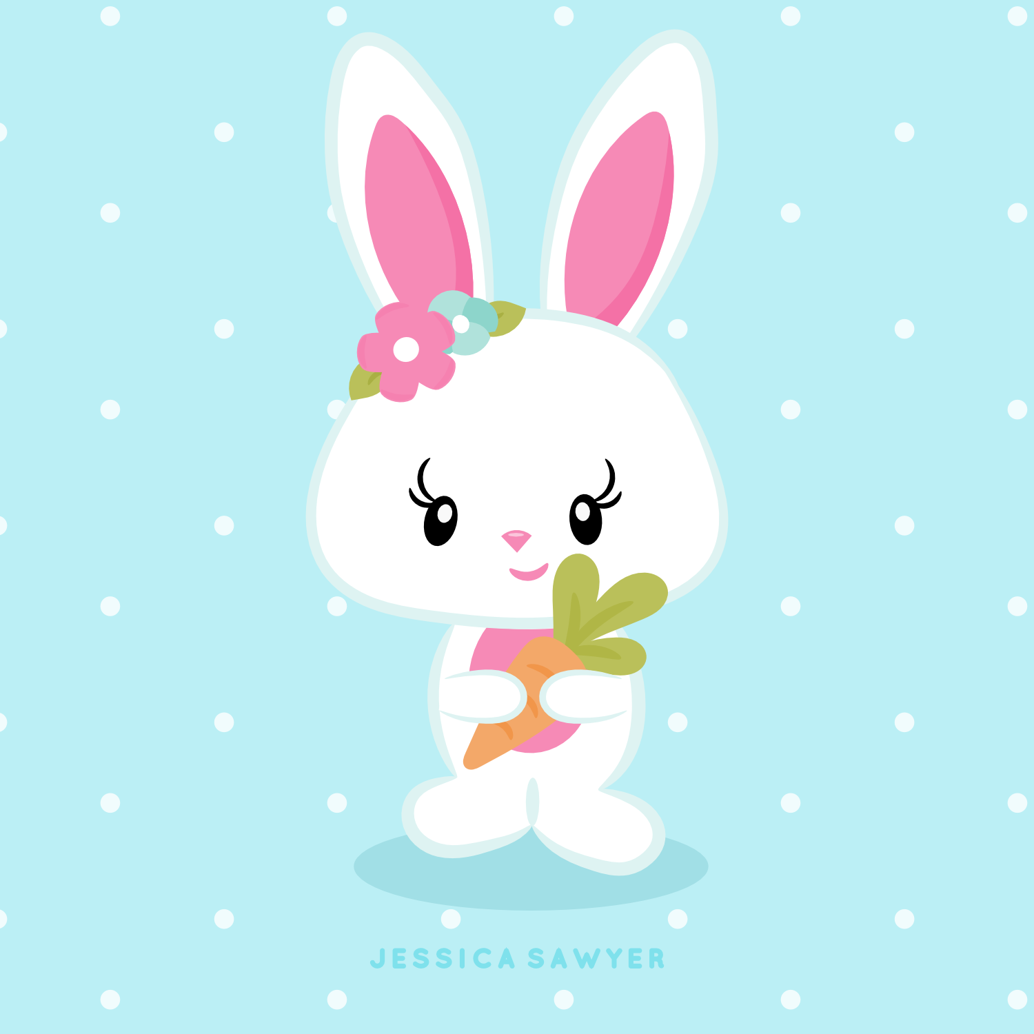 Bunny clipart kawaii. Instant download easter and