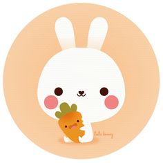 Pencil and in color. Bunny clipart kawaii