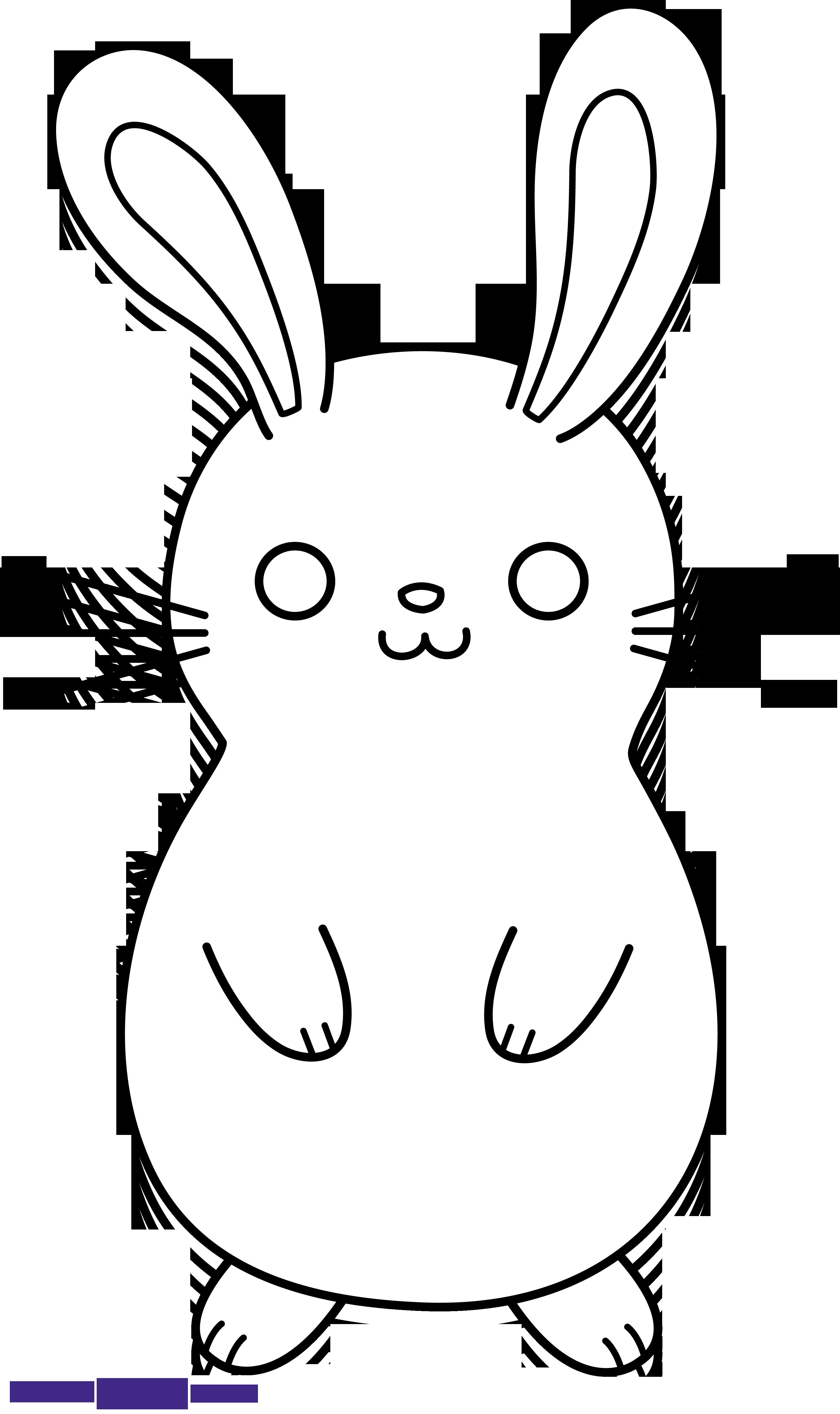 Clipart bunny rabbit. Cute lineart black white