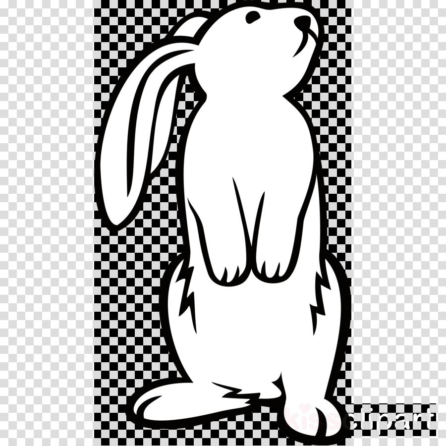 Rabbit standing easter clip. Bunny clipart line art