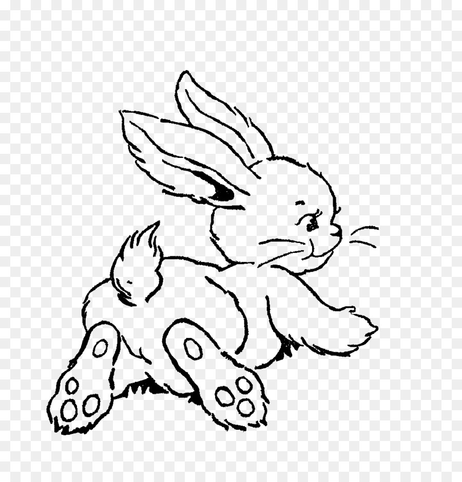 Bunny clipart line art. Easter background drawing rabbit
