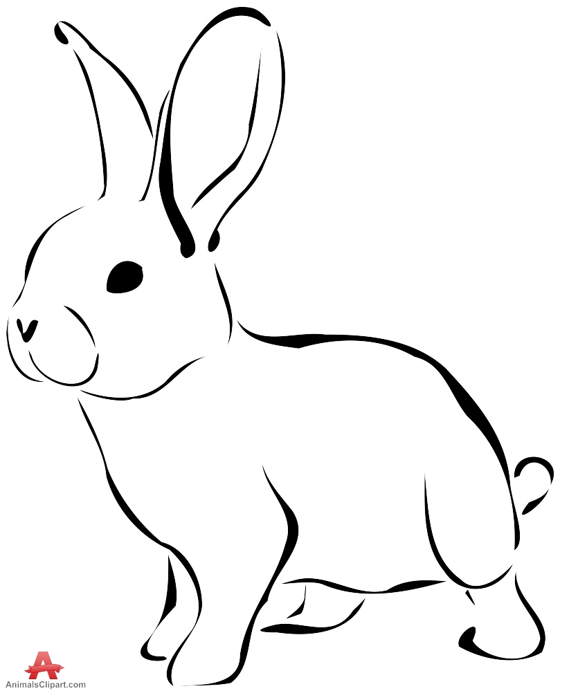 Black and white rabbit. Bunny clipart outline