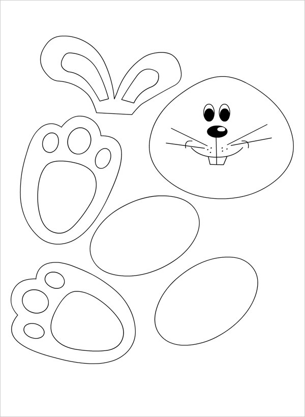 Bunny clipart paw.  template free jpg