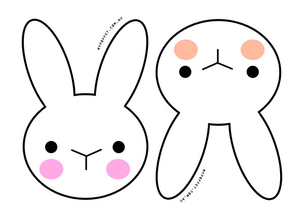 Pencil and in color. Bunny clipart printable