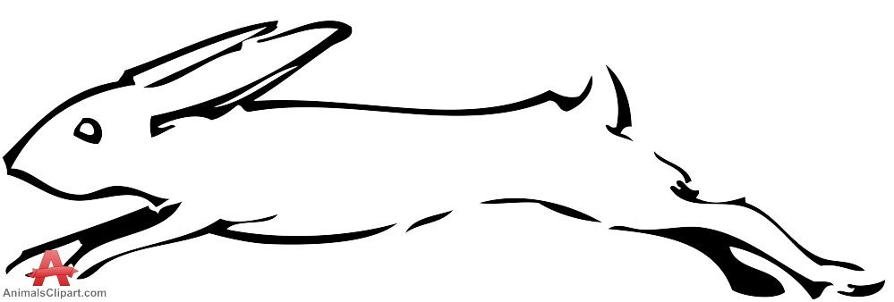 Sketch of rabbit stencil. Bunny clipart running