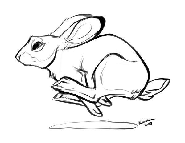 Rabbit line drawing at. Bunny clipart running