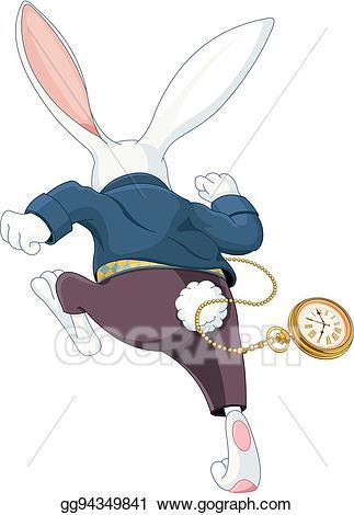 Bunny clipart running. Vector art white rabbit
