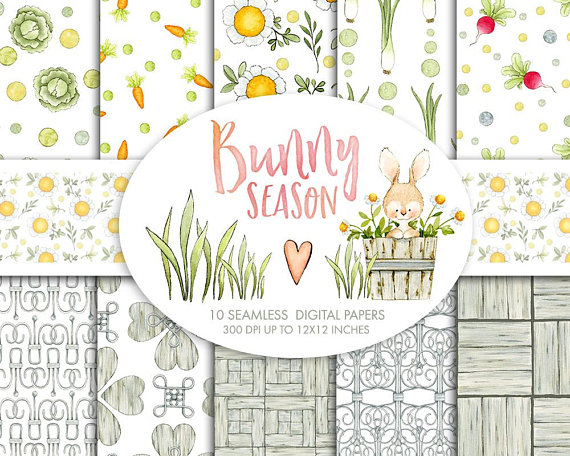 Bunny clipart shabby chic. Watercolor digital papers seamless