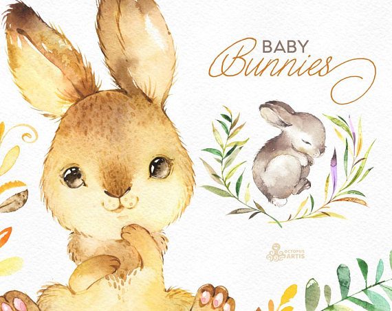 Bunny clipart shabby chic. Baby bunnies watercolor little