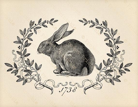 Printable digital graphics vintage. Bunny clipart shabby chic