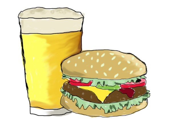 burger clipart beer
