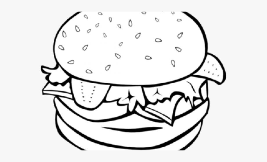 Burger clipart black and white. Hamburger outline