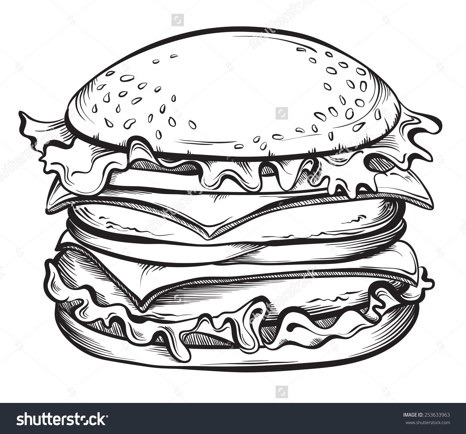 Cheeseburger clipart black and white. Burger illustration google search