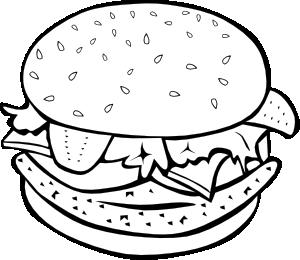 Burger clipart black and white. Chicken b w clip