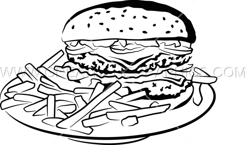 Burger fries production ready. Fast clipart black and white
