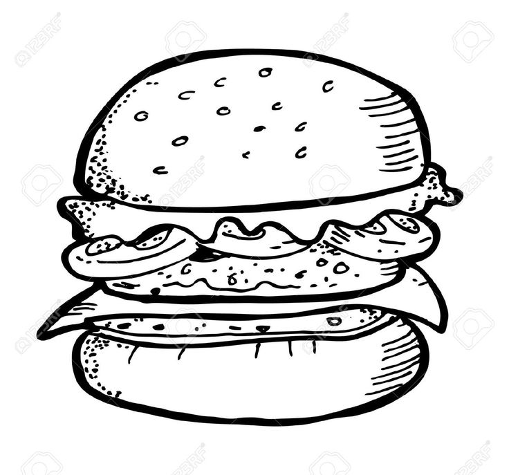 best the works. Burger clipart black and white
