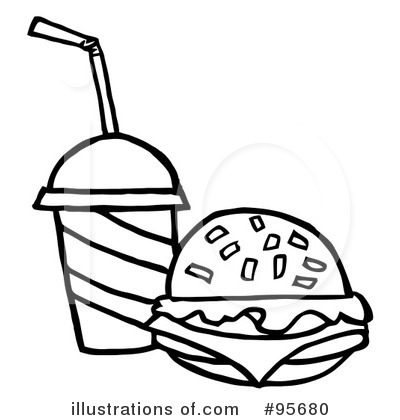 Illustration by hit toon. Burger clipart black and white