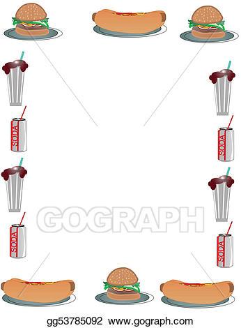 Eps illustration hamburger and. Burger clipart border
