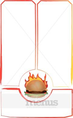 Burger clipart border. Flame grilled food menu