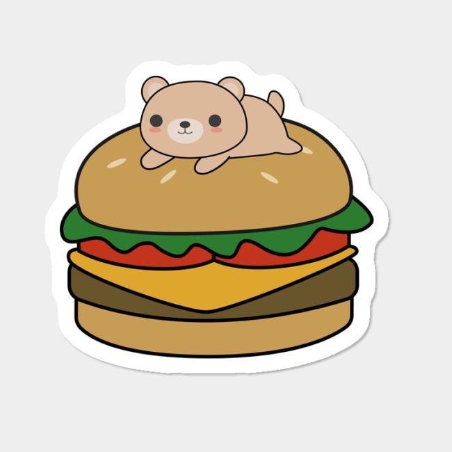 Burger clipart border. Kawaii bear on a