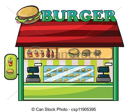 Restaurant station . Burger clipart building