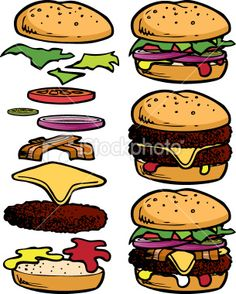 Burgers and sandwiches ingredients. Burger clipart building