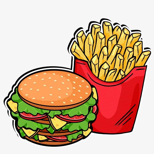 Cheeseburger clipart vector. Burger and fries hamburger