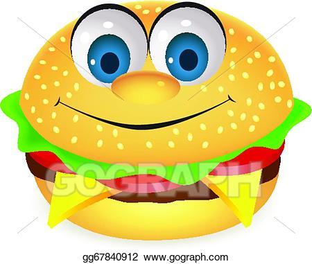 Vector art character drawing. Burger clipart cartoon