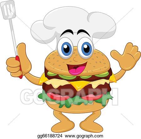 Burger clipart cartoon. Vector funny chef character