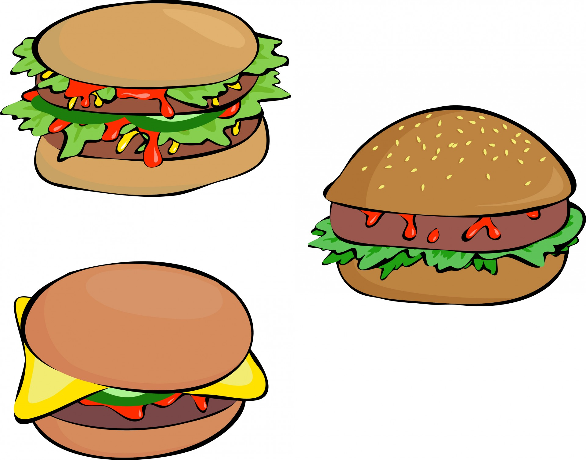Burger clipart cheeseburger. Three burgers free stock