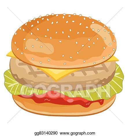 Burger clipart chicken burger. Vector art on white