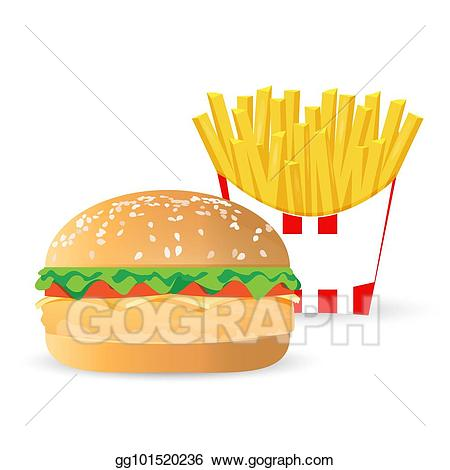 Drawing and french fries. Burger clipart chicken meat