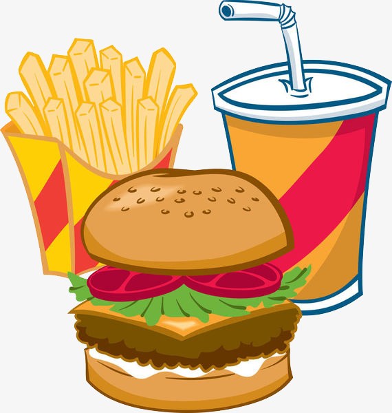 Fries cartoon food png. Burger clipart chicken meat