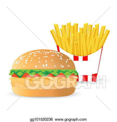 Burger clipart chicken meat. Drawing and french fries