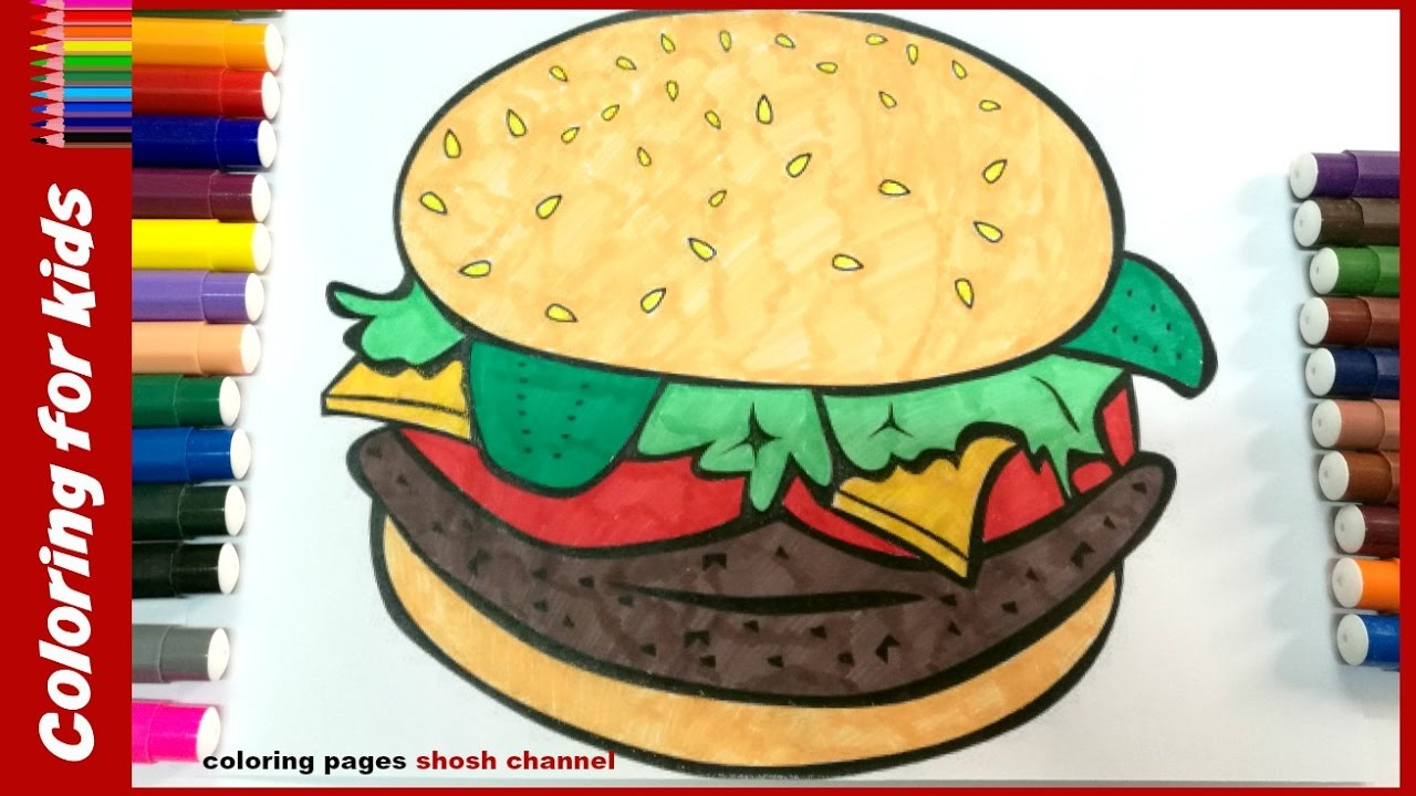Burger clipart colored. Coloring pages sandwich drawing