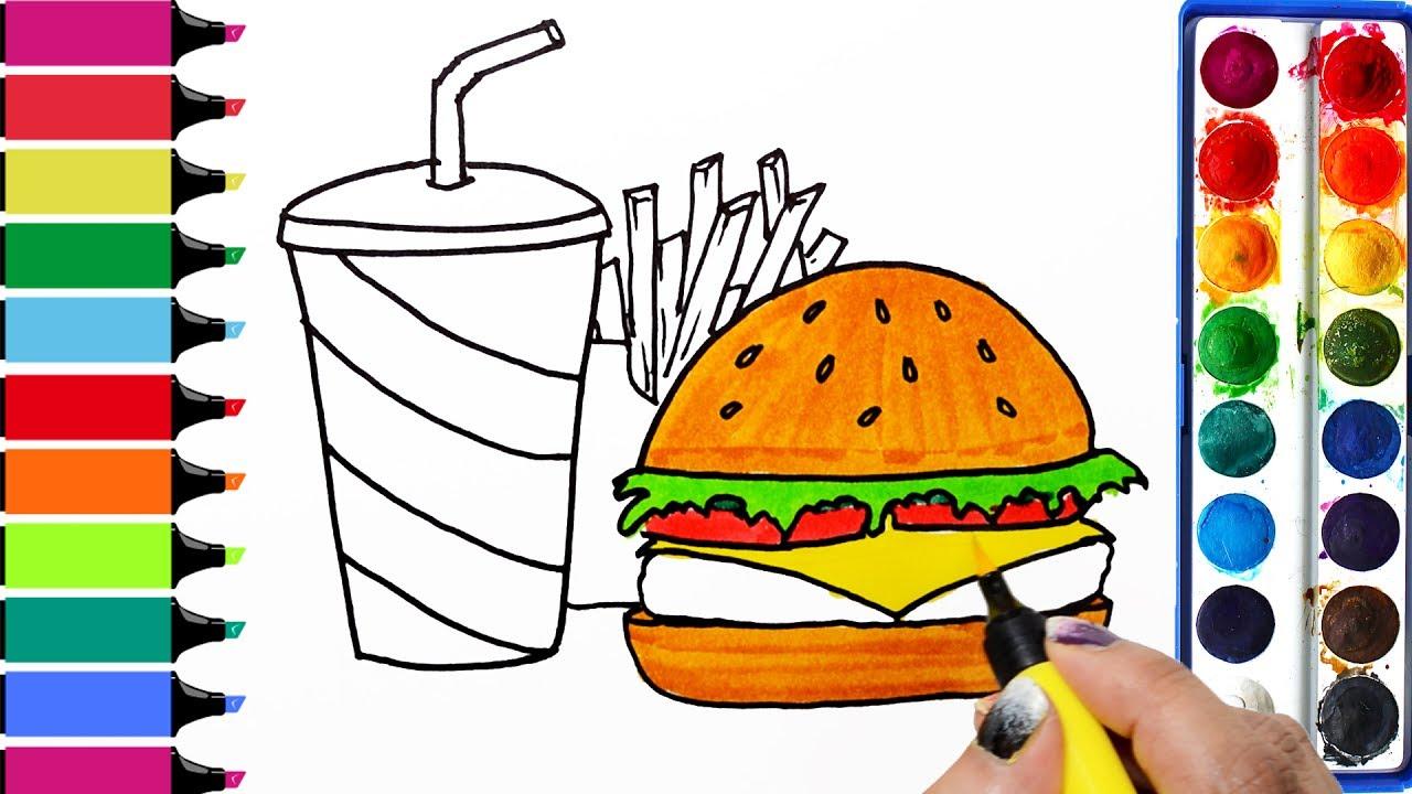 Draw color paint happy. Burger clipart colored